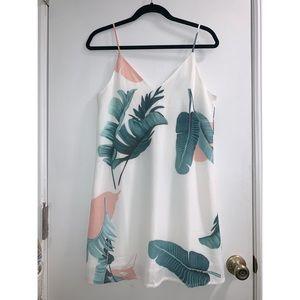 NWOT Palm Leaf Print Double V Neck Cami Dress